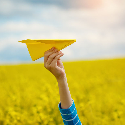 yellow paper airplane500 500